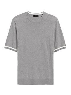 Cotton Short-Sleeve Sweater