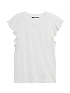 Linen Flutter-Sleeve Top