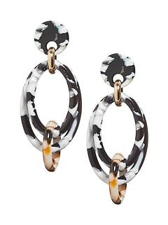 Multi Resin Oval Earrings