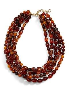 Collier à perles en résine d'ambre