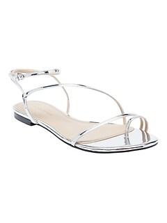 Metallic Strappy Flat Sandal