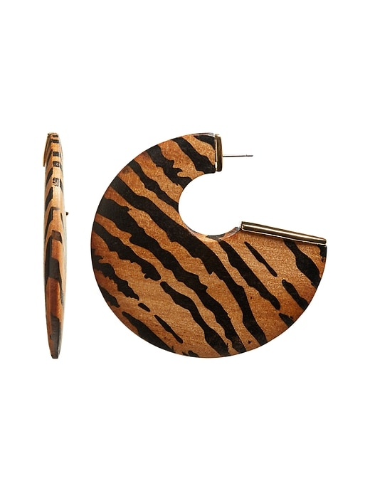 Zebra Wood Hoop Earrings