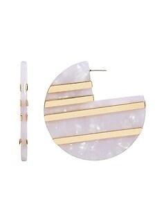 Metal Stripe Resin Hoop Earrings