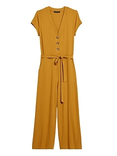 Ribbed Knit Cropped Jumpsuit