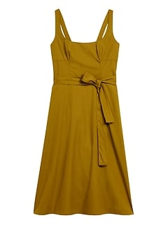 Poplin Square-Neck Dress