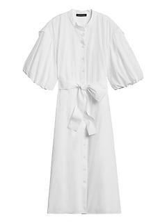 Poplin Puff-Sleeve Shirt Dress