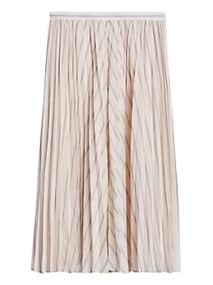 Petite Soft Satin Pleated Midi Skirt