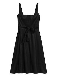 Linen-Cotton Square-Neck Dress