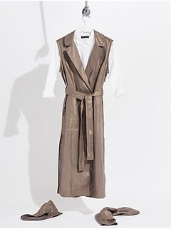 Convertible Metallic Linen Trench Coat