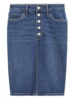 Button-Fly Denim Pencil Skirt