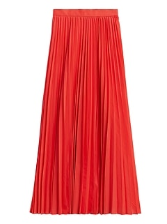 Petite Pleated Poplin Maxi Skirt