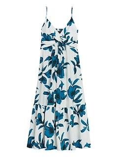 Petite Floral Twist-Front Midi Dress