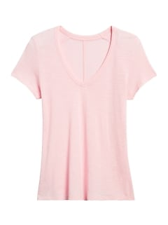 Slub Cotton-Modal V-Neck T-Shirt