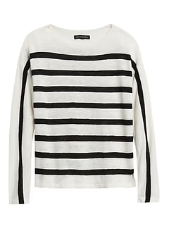 Petite Linen-Blend Stripe Sweater