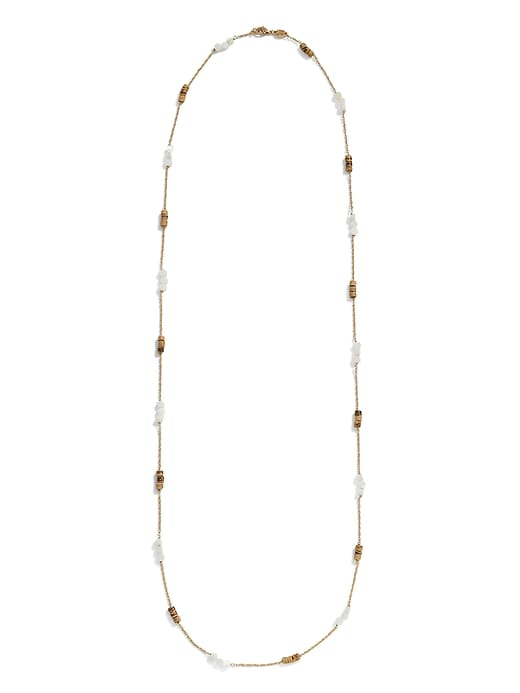 Mother of Pearl & Wood Long Necklace