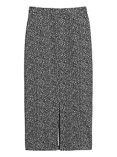 Leopard Jacquard Pencil Skirt