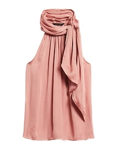Soft Satin Tie-Neck Top