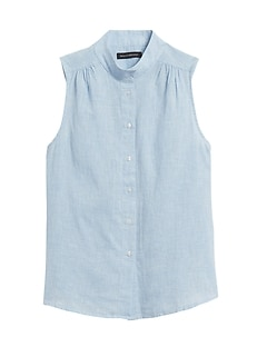 Cotton-Linen Sleeveless Shirt