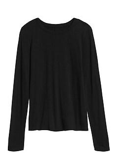 T-shirt à manches longues en coton-modal grège