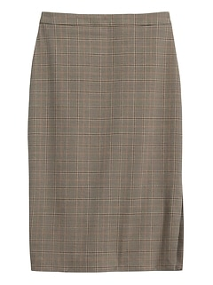 Plaid Cotton-Wool Blend Pencil Skirt with Side Slit