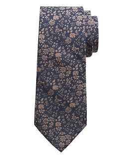 Cravate en coton et en soie à fleurs