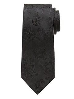 Cravate en soie à motifs cachemire ton sur ton