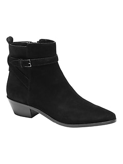 Suede Buckle Ankle Boot