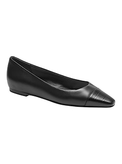 Leather Pointed Cap-Toe Flat
