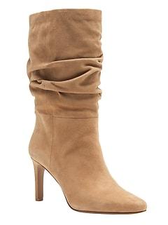Suede High-Heel Slouchy Boot