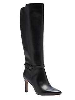 Leather High-Heel Buckle Boot