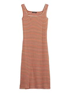 Ribbed Square-Neck Dress