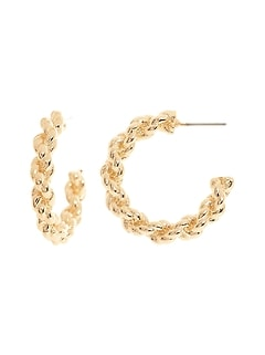 Twist Link Hoop Earrings