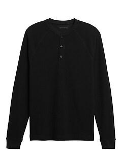 T-shirt henley en tricot gaufré Core Temp