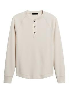 Brushed Waffle-Knit Henley T-Shirt