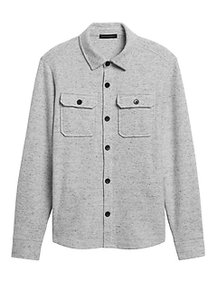 Brushed Waffle-Knit Shirt Jacket