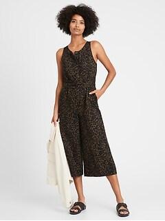 Linen-Cotton Wide-Leg Cropped Jumpsuit