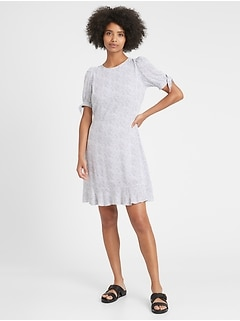 Puff-Sleeve Mini Dress