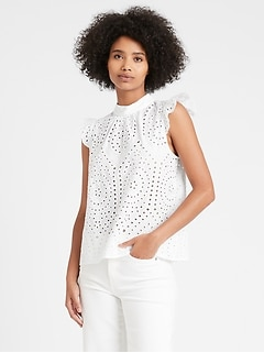Unlined Eyelet Top