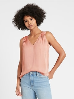 Soft Satin V-Neck Top