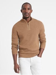 Pull à mi-glissière en laine mérinos