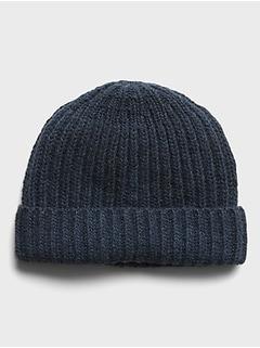 Bonnet à rebord roulé en mélange de laine mérinos