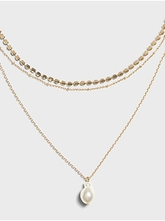 Triple Chain Pearl Necklace