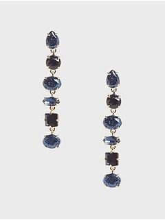 Boucles d'oreilles linéaires à pierre bleue