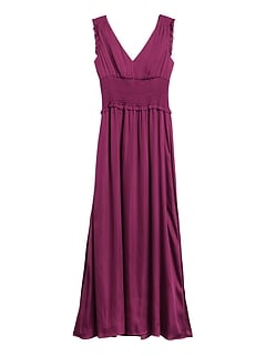 Petite Satin Smocked Maxi Dress