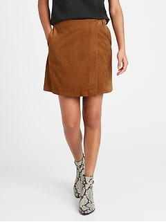 Vegan Suede Wrap Mini Skirt