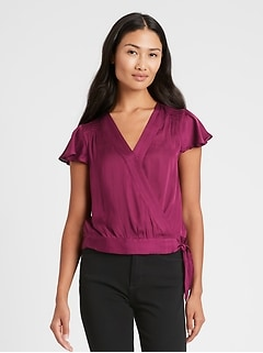 Satin Smocked Cropped Top