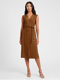 Petite Vegan Suede Wrap Dress