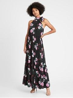 Petite Tie-Neck Maxi Dress