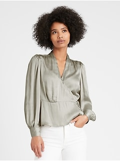 Petite Soft Satin Wrap Top