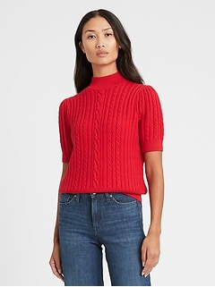 Petite Short-Sleeve Cable-Knit Sweater